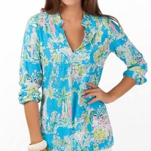 Lilly Pulitzer Rare Jungle Toile Glam Tunic Top  M